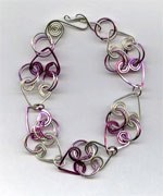 Pink and silver heart bracelet