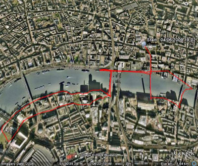 Crisis Square Mile Run 2009 route