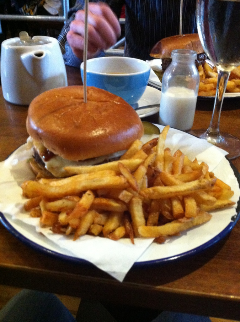 Googies burger and chips