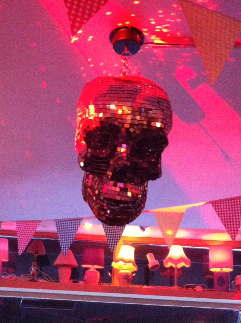 Skull disco ball in Simmons Bar, King's Cross